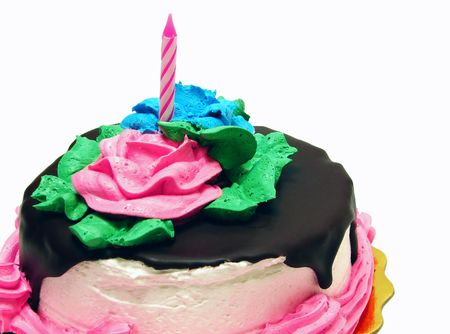 Birthday Cake and candle isolated on white background.