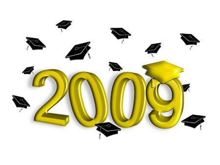 Class of 2009 graduation illustration in gold faux 3D with tossed black caps on white background.