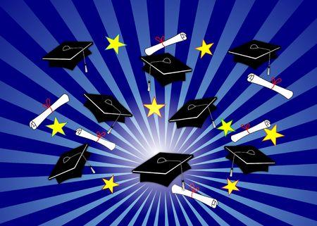 grad: Graduaci�n ilustraci�n - negro gorras y diplomas echados a lo largo radial fondo azul.