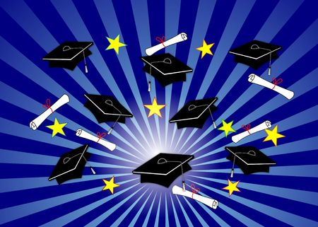 Graduation illustration - black caps and diplomas tossed up over radial blue background.