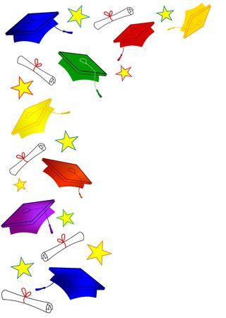 Graduation border with colorful caps and diplomas and stars in a vertical frame