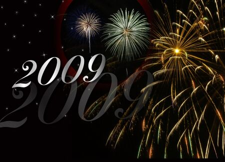 New Years background for 2009 on black with fireworks display. Stock Photo
