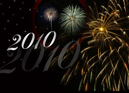New Years background for 2010 on black with fireworks display.