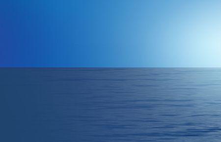 Illustratie van mistige blauwe oceaan en hemel bij zonsopkomst.