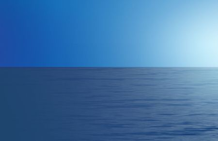 Illustration of misty blue ocean and sky at sunrise.