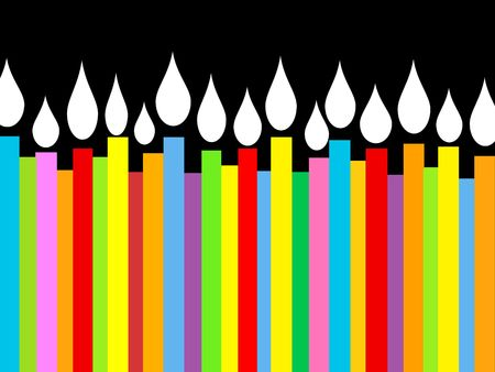 festive background: Birthday candles in bright colors on black background.