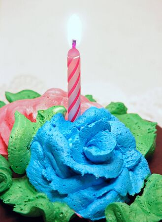Close-up of lit candle on decorated birthday cake.