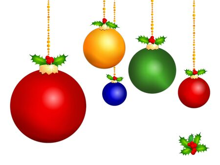 Christmas ornaments in seasonal colors decorated with holly and berries.