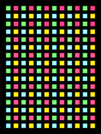 Colorful boxes arranged in grid on black  Stock Photo