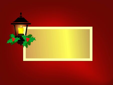 Lantern with lit candle decorated with holly and berries on red . Sized for greeting card with copyspace.