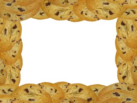 Chocolate chip cookies arrange in a rectangular frame