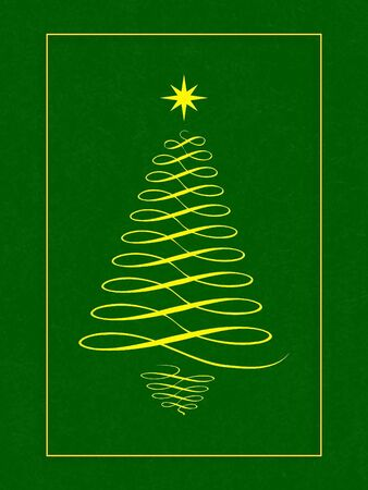 Christmas tree with star on green  with gold border Stock Photo