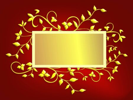 Christmas card design with gold holly leaves on vines with centered copy space in gold foil effect on red mesh