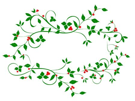 Vintage Christmas holly vines in abstract heart shape frame on white