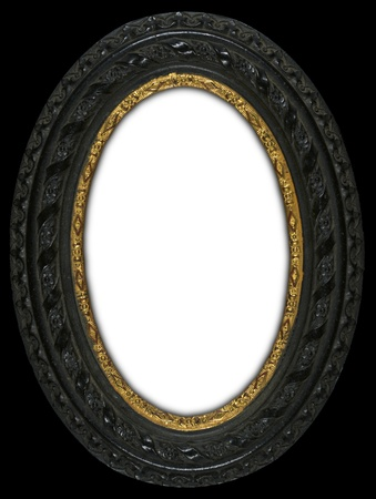 Carved oval antique frame with a gold band insert circa 1850 photo