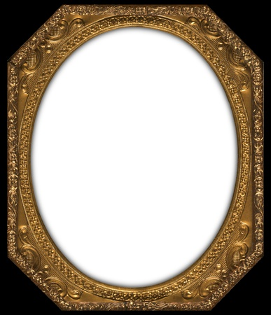 Octagonal gold frame with an oval insert  photo