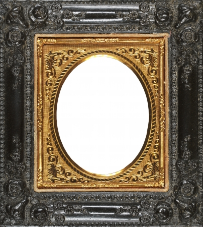 Antique hand coloured gold frame, made from tin circa1860 photo