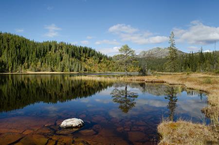Norway 2012: Mountain lake view in autumn Stock Photo