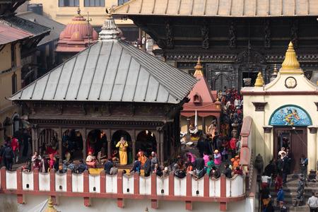 south asian ethnicity: KATHMANDU, NEPAL - FEBRUARY 17, 2015:  Nepalese Hindu people celebrate annually in reverence of the god Shiva during the Maha Shivaratri Festival at Pashupatinath Temple on February 17, 2015 in Kathmandu, Nepal.