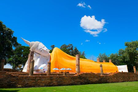 ang thong: ANG THONG PROVINCE THAILAND  MAY 17 2015: The second longest reclining buddha 50 metres in length at Wat Khun Inthapramun Temple in Thailand.