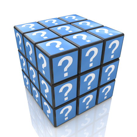 questioned: FAQ cube with a question marks in the design of information related to solving the issues