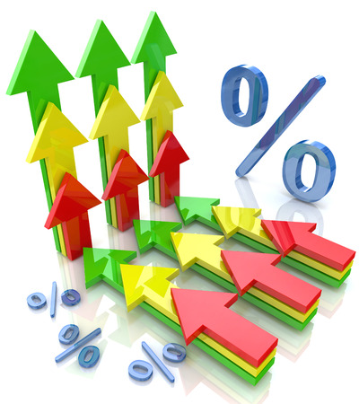 Percentage with arrows pointing up financial growth concept in the design of the information related to the economy photo