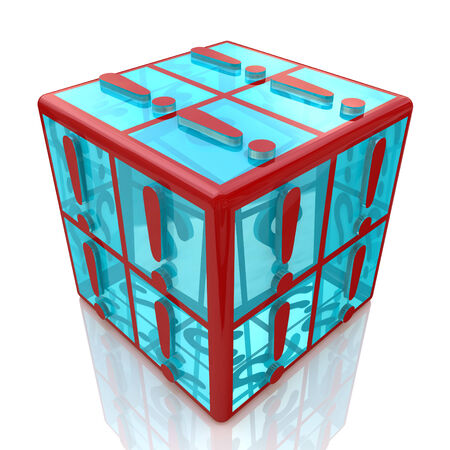 cube exclamations at registration information associated with abstract warnings photo