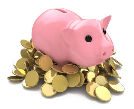 Money Box pig with gold coins photo