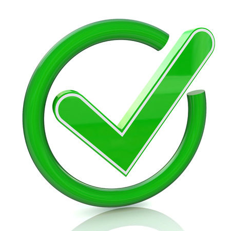Green tick sign icon 3d. Glass check mark symbol
