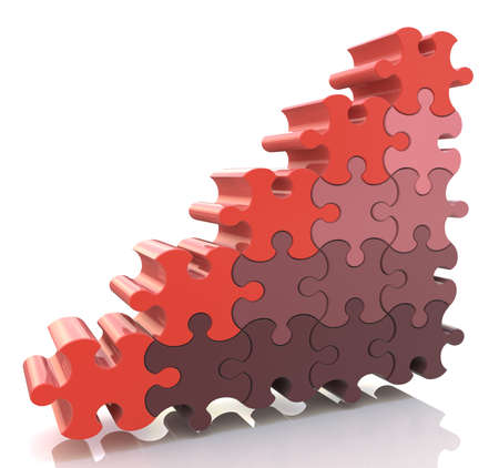 business growth: puzzle success financial bar chart graph Stock Photo