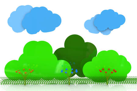 Background landscape with trees clouds, bushes and flowers photo