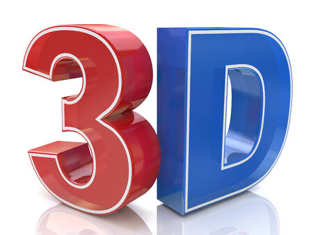 Illustration of 3D word logo written in red and blue color illustration