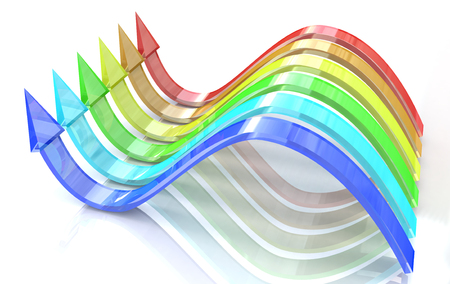 3d wavy arrows of color of rainbow on a white background photo