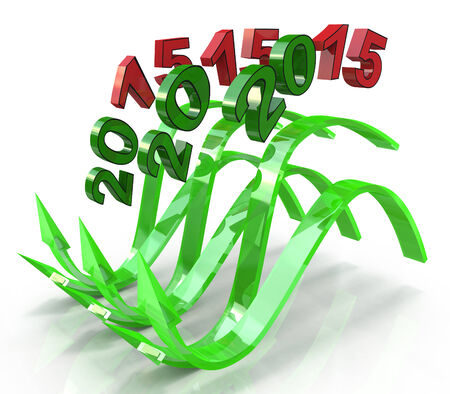 latent: Green wavy arrows new year 2015, concept of the latent potential