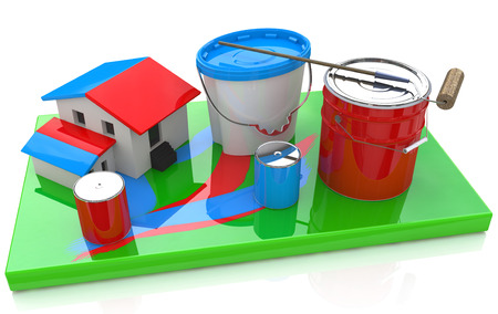 paint roller painting a house