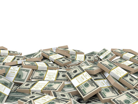 3D-afbeelding stapel dollars heap, op witte achtergrond, sjabloon Stockfoto
