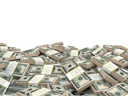 3d illustration stack of dollars heap, over white background, template Standard-Bild