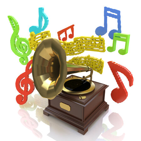 tunable: Old gramophone and musical notes