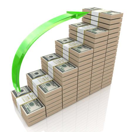 お金スタック グラフ。100 ドル