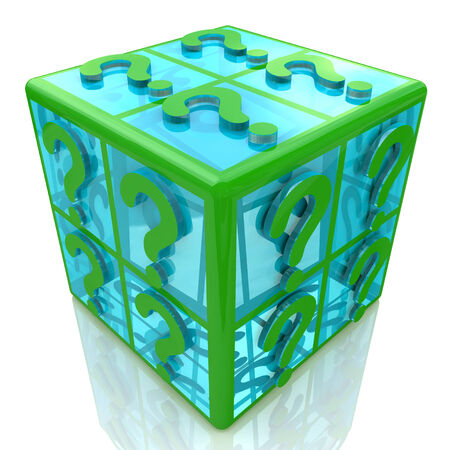 transparence: FAQ cube with a question marks