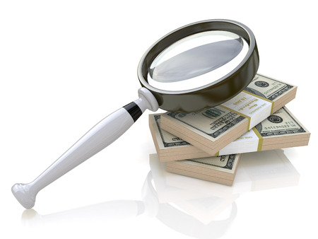 looking glass: Magnifying Glass and money