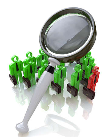 man looking out: magnifying glass and business people