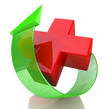 赤十字と矢印