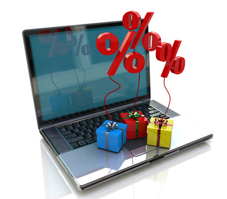 Laptop and gift discounts in Internet photo