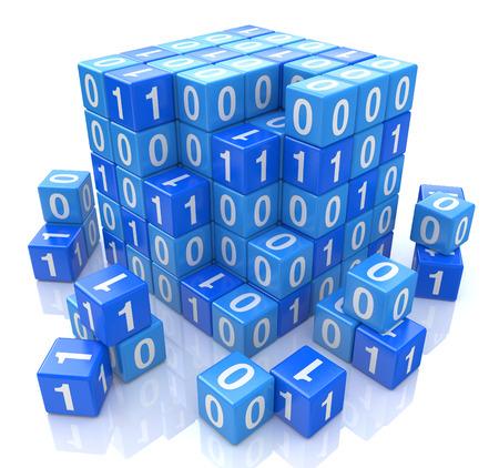 デジタル ブルー キューブ、3 d イメージのバイナリ コード