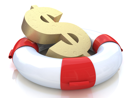 success risk: Financial insurance concept: golden dollar symbol in lifebelt isolated on white background