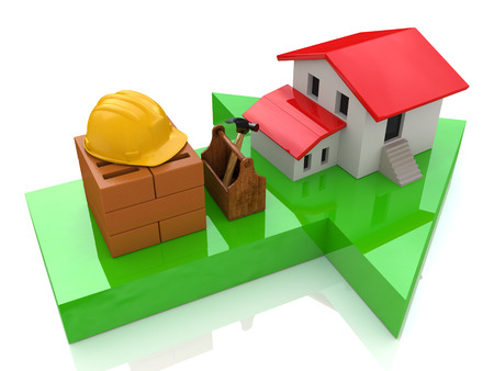 house prices: Green arrow and small house - construction concept