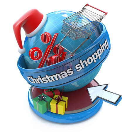 Concept of Christmas online shopping photo