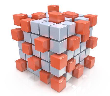 チームワーク ビジネス コンセプト - キューブ ブロックから組み立て 写真素材