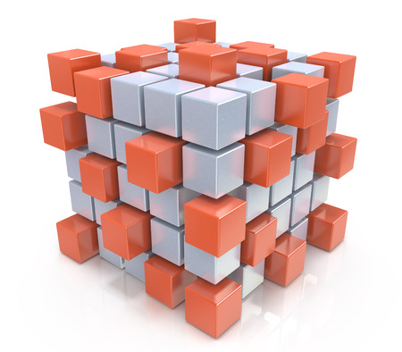 teamwork business concept - cube assembling from blocks Banque d'images